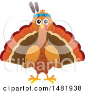 Clipart Of A Thanksgiving Native Turkey Bird Royalty Free Vector Illustration