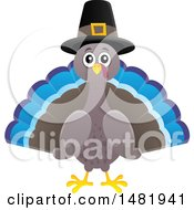 Clipart Of A Thanksgiving Pilgrim Turkey Bird Royalty Free Vector Illustration