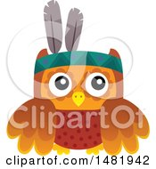 Clipart Of A Thanksgiving Native American Owl Royalty Free Vector Illustration