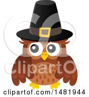 Clipart Of A Thanksgiving Owl Wearing A Pilgrim Hat Royalty Free Vector Illustration by visekart