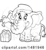 Cute Christmas Elephant And Gift Black And White