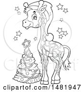Cute Christmas Giraffe And Tree Black And White