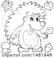 Clipart Of A Cute Hedgehog Black And White Royalty Free Vector Illustration by visekart