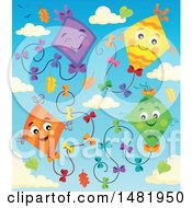 Clipart Of A Group Of Colorful Kites And Clouds With Autumn Leaves Royalty Free Vector Illustration by visekart