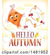 Clipart Of A Happy Kite Flying Over Hello Autumn Text Royalty Free Vector Illustration by visekart