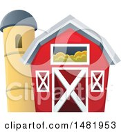 Clipart Of A Red Barn And Silo Royalty Free Vector Illustration