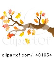 Clipart Of A Tree Branch With Autumn Leaves Royalty Free Vector Illustration