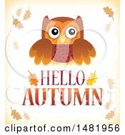 Cute Owl Over Hello Autumn Text