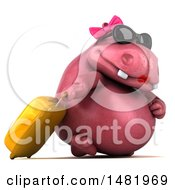 3d Pink Henrietta Hippo Character Traveler On A White Background