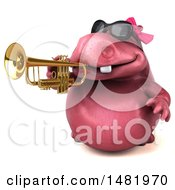3d Pink Henrietta Hippo Character Playing A Trumpet On A White Background
