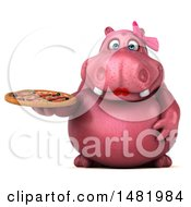 Clipart Of A 3d Pink Henrietta Hippo Character Holding A Pizza On A White Background Royalty Free Illustration