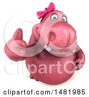 Clipart Of A 3d Pink Henrietta Hippo Character Holding Up A Thumb On A White Background Royalty Free Illustration