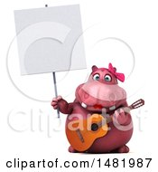 3d Pink Henrietta Hippo Character Holding A Guitar On A White Background