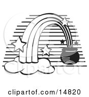 Pot Of Gold At The End Of A Rainbow Black And White Clipart Illustration