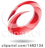 Clipart Of An Abstract Red Oval Letter A Design With A Shadow Royalty Free Vector Illustration