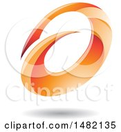 Clipart Of An Abstract Orange Oval Letter A Design With A Shadow Royalty Free Vector Illustration