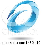 Abstract Blue Oval Letter A Design With A Shadow