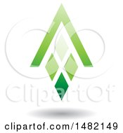 Clipart Of A Green Abstract Letter A Diamond Window And House Roof Royalty Free Vector Illustration by cidepix