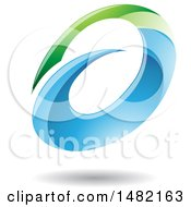 Clipart Of An Abstract Green And Blue Oval Letter A Design With A Shadow Royalty Free Vector Illustration