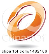 Clipart Of An Abstract Orange Oval Letter A Design With A Shadow Royalty Free Vector Illustration by cidepix