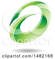 Clipart Of An Abstract Green Oval Letter A Design With A Shadow Royalty Free Vector Illustration by cidepix
