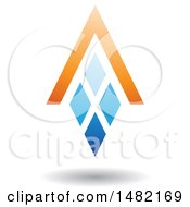 Clipart Of A Blue And Orange Abstract Letter A Diamond Window And House Roof Royalty Free Vector Illustration