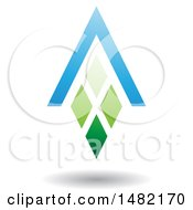Clipart Of A Green And Blue Abstract Letter A Diamond Window And House Roof Royalty Free Vector Illustration