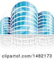 Clipart Of Shiny Blue City Or Apartment Buildings And Reflections Royalty Free Vector Illustration
