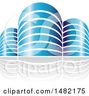 Clipart Of Shiny Blue City Or Apartment Buildings And Reflections Royalty Free Vector Illustration by cidepix
