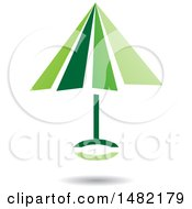 Clipart Of A Floating Green Umbrella And Shadow Royalty Free Vector Illustration by cidepix