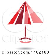 Floating Red Umbrella And Shadow