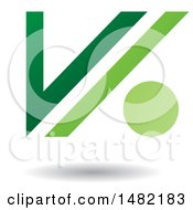 Clipart Of A Floating Green Abstract Letter V And Dot And Shadow Royalty Free Vector Illustration