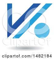 Floating Blue Abstract Letter V And Dot And Shadow