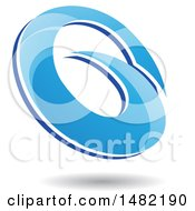 Clipart Of An Abstract Blue Oval Letter G Design With A Shadow Royalty Free Vector Illustration