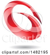 Clipart Of An Abstract Red Oval Letter G Design With A Shadow Royalty Free Vector Illustration by cidepix