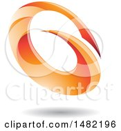 Abstract Orange Oval Letter G Design With A Shadow