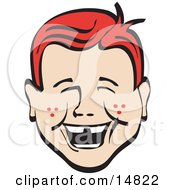 Happy Red Haired Freckled Boy With Missing Front Teeth Laughing Retro Clipart Illustration