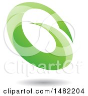 Clipart Of An Abstract Green Oval Letter G Design With A Shadow Royalty Free Vector Illustration