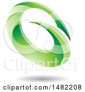 Clipart Of An Abstract Green Oval Letter G Design With A Shadow Royalty Free Vector Illustration by cidepix