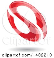 Floating Red Abstract Glossy Oval Letter S Design And Shadow