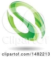Floating Green Abstract Glossy Oval Letter S Design And Shadow