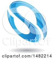 Floating Blue Abstract Glossy Oval Letter S Design And Shadow