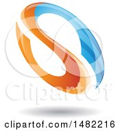 Floating Blue And Orange Abstract Glossy Oval Letter S Design And Shadow