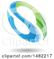 Clipart Of A Floating Green And Blue Abstract Glossy Oval Letter S Design And Shadow Royalty Free Vector Illustration