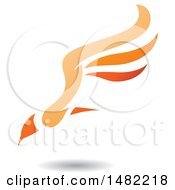 Orange Flying Bird With Long Wings And A Shadow