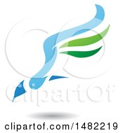 Clipart Of A Green And Blue Flying Bird With Long Wings And A Shadow Royalty Free Vector Illustration
