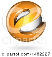 Clipart Of An Orange Letter E Around A Floating Sphere Royalty Free Vector Illustration