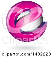 Clipart Of A Magenta Pink Letter E Around A Floating Sphere Royalty Free Vector Illustration