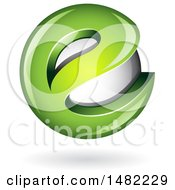 Clipart Of A Green Letter E Around A Floating Sphere Royalty Free Vector Illustration