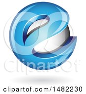 Clipart Of A Blue Letter E Around A Floating Sphere Royalty Free Vector Illustration